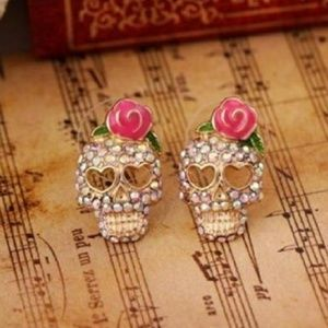 Day of the Dead Sugar Skull Crystal Earrings